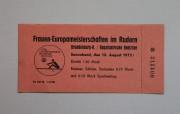 Eintrittskarte zu den Frauen-Europameisterschaften im Rudern 1972, Sammlung: Stadtmuseum Brandenburg an der Havel