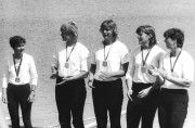 Carola Lichey (rechts), Jahrgang 1961, Ruderin der BSG Einheit Brandenburg, Erfolge: Junioren-Weltmeisterin, eine Gold-, eine Silber- und eine Bronzemedaille bei Weltmeisterschaften, DDR-Meisterin, Foto: Bundesarchiv_Bild_183-1985-0721-010_Ruderinnen_DDR
