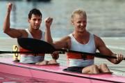 Kai Bluhm, Jahrgang 1968, geboren in Brandenburg (Havel), begann bei der BSG Motor Süd Brandenburg den Kanu-Rennsport, Erfolge: drei Olympiasiege, sechs Weltmeistertitel (gemeinsam mit Torsten Gutsche im K2); drei olympische Gold- und zwei Silbermedaillen, sieben Weltmeistertitel und sechs weitere Weltmeisterschaftsmedaillen, mehrmaliger DDR- und deutscher Meister, Foto: Kay Bluhm (vorn) und Torsten Kutsche
